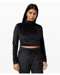 lululemon athletica Black All Aligned Mock Neck Long Sleeve Crushed Velvet
