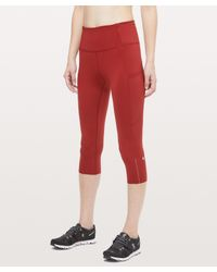 """lululemon athletica Red Fast And Free High-rise Crop 19"""" Reflective"""