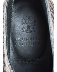 "Brunello Cucinelli - Black Graphite Pebbled Leather ""lug Sole"" Booties - Lyst"