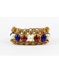 Chanel - Metallic Vintage Gold Tone Blue Red Faux Pearl Beaded Layered Chain Link Bracelet - Lyst