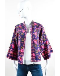 Lanvin Multicolor Vintage Navy Pink Rose Print Kimono Jacket