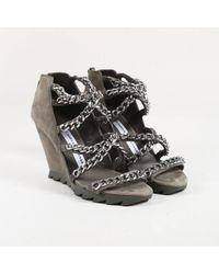 Camilla Skovgaard Metallic Gray Suede Silver Tone Chain Link Wedge Sandals