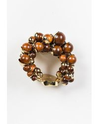 "Dior - Brown Wood Beaded ""mise En Dior"" Bracelet - Lyst"