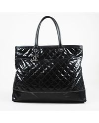 Chanel Black Large Rue Cambon Quilted Tote Bag