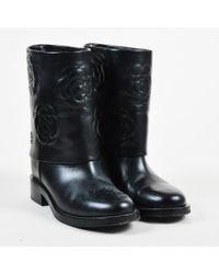 Chanel Fall 2016 Black Leather Fold Over Camellia Stitch Boots