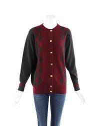 Chanel Cashmere Intarsia Knit Cardigan Red/gray/geometric Sz: L