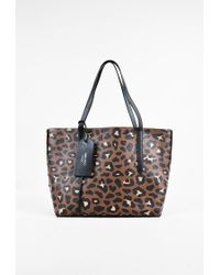 "Jimmy Choo Black Brown Pebbled Leather Leopard ""twist East West"" Tote Bag"