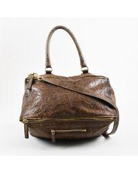 """Givenchy Brown Crinkled Sheepskin Leather """"large Pandora"""" Shoulder Bag"""