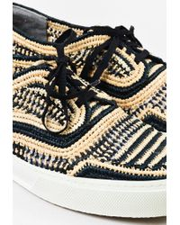 Robert Clergerie Cream Black Raffia Woven Pattern Lace Up Sneakers