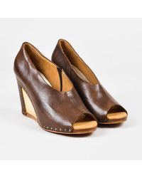 Maison Margiela Brown Leather Wooden Wedge Pumps