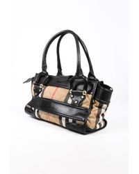 Burberry Manor Brown Black House Check Quilted Canvas Leather Bag