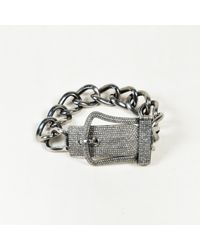 Unbranded - Metallic Rhodium Plated Sterling Silver & Diamond Curb Chain Buckle Bracelet - Lyst