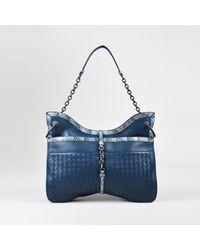 44972659af5d Bottega Veneta. Women s Blue Intrecciato Leather Snakeskin Trim