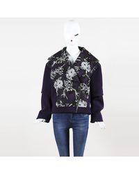 KENZO Purple Floral Wool & Silk Blend Oversize Jacket