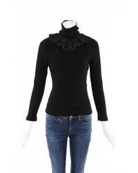 Chanel Rib Knit Cotton Turtleneck Top Black Sz: S
