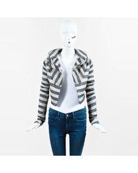Rick Owens Beige & Black Knit Trim Striped Cropped Jacket
