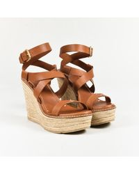 Ralph Lauren Collection Brown Leather Ankle Wrap Espadrille Wedge ...