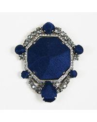 Lanvin Blue Silk Silver Tone Metal & Crystal Embellished Brooch