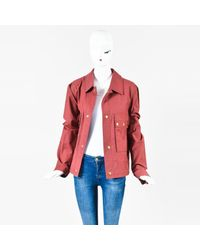 Marc Jacobs Red Cotton Blend Gold Tone Snap Jacket