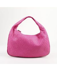 "Bottega Veneta - Pink ""intrecciato"" Leather ""small Veneta Hobo"" Bag - Lyst"