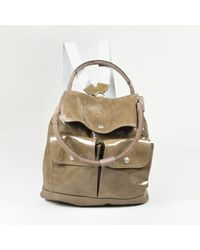 Brunello Cucinelli Green Patent Leather & Suede Top Handle Backpack