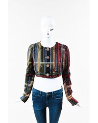 Chanel Blue Tweed Cropped Jacket