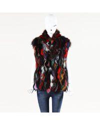 Adrienne Landau Multicolor Rabbit Fur Vest