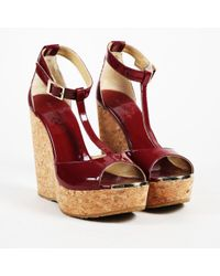"""Jimmy Choo - """"ruby"""" Red Patent Leather Cork Wedge """"pela"""" T Strap Sandals - Lyst"""