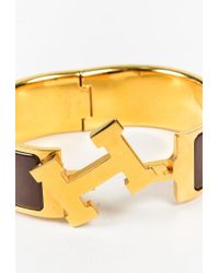 "Hermès - Metallic Brown Gold Plated Metal ""clic Clac H Wide Pm"" Bracelet - Lyst"