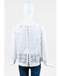 Isabel Marant White Cream Cotton Lace Ribbed Trim Long Sleeve Top