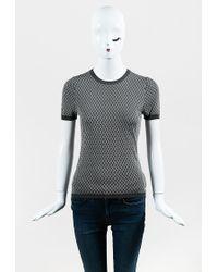 Giorgio Armani - Gray & White Diamond Knit Short Sleeve Pullover Sweater - Lyst