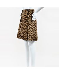 Boutique Moschino Brown Black Tan & Cream Wool Buttoned Animal Print Skirt