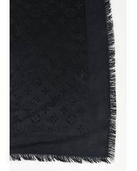Louis Vuitton Black Silk & Wool Monogram Fringe Trim Scarf