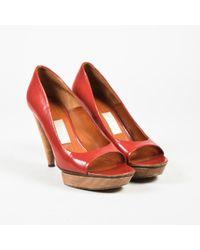 Lanvin Red Patent Leather Peep Toe Wooden Platform High Heel Pumps