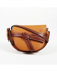 "Loewe Brown Soft Grained Calfskin Mini ""gate"" Crossbody Bag"