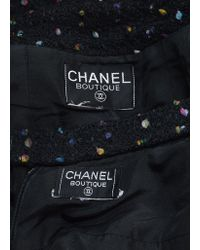 Chanel - Black And Multicolor Speckled Tweed Jacket Pencil Skirt Suit - Lyst