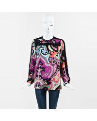 Etro Multicolor Silk Printed Long Sleeve Blouse