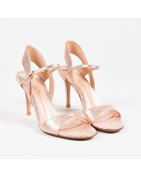 "Gianvito Rossi Pink ""crash"" Rose Gold Cracked Leather Slingback Sandals"