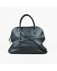 "Hermès Black Clemence Leather Top Handle ""bolide"" 35 Cm Satchel Bag"