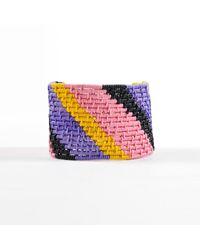 Unbranded Purple Multicolor Wrapped Wire Diagonal Stripe Cuff Bracelet