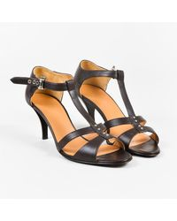 e4628e74d6b Lyst - Hermès Dark Brown Leather Double T Strap Heeled Sandals Sz 38 ...