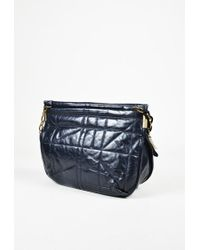 "Lanvin - Blue Calf Leather Quilted Ribbon & Chain Strap ""amalia"" Crossbody Bag - Lyst"