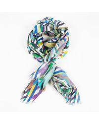 Matthew Williamson Blue Geometric Print Cashmere Silk Multicolor Scarf