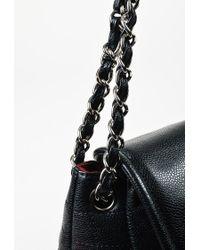 "Chanel Black Quilted Caviar Leather ""half Moon Flap"" Shoulder Bag"