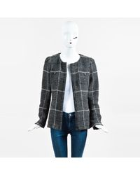 Chanel Fall 2008 Gray Multicolor Wool Blend Plaid Jacket Sz 40