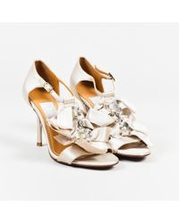 Lanvin Metallic Gray Satin Crystal Embellished T Strap Sandals