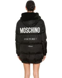 Moschino - Black Hooded Nylon Logo Printed Puffer Coat - Lyst