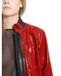 Anthony Vaccarello - Red Nappa & Patent Leather Jacket - Lyst