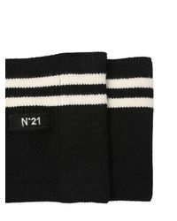 N°21 Black Striped Wool Knit Belt W/ Logo Tag