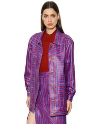 Trussardi - Purple Logo Printed Nappa Leather Jacket - Lyst